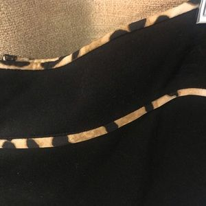 Calvin Klein animal print trim black skirt sz 14